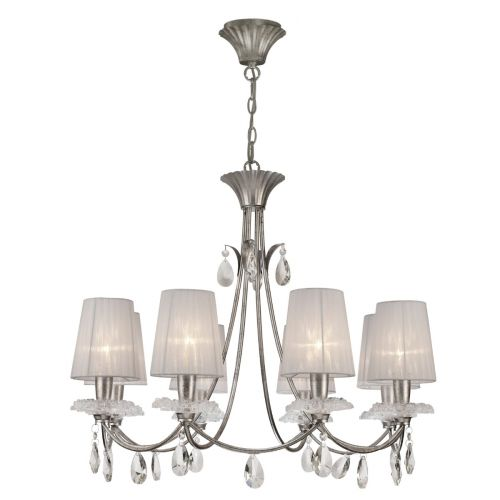 Mantra M6301 Sophie Large 8 Light Silver Chandelier