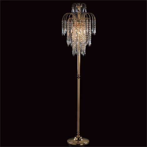 Impex ST01900/FL/G Shower 3Lt Gold Floor Lamp With Heritage Prism Crystals