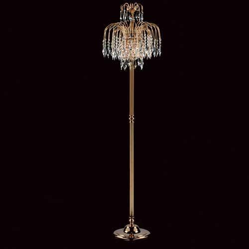 Impex ST02000/FL/G Shower 3Lt Gold Floor Lamp With Heritage Prism Crystals