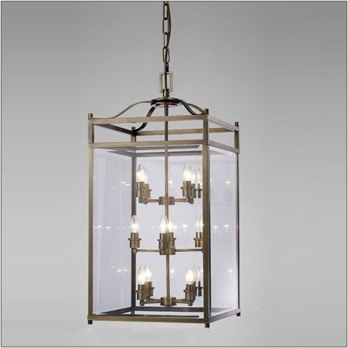 Diyas IL31115 Aston Ceiling Pendant 12 Light Lantern Antique Brass