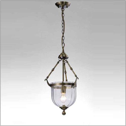 Diyas IL31075 Aubrey Pendant 1 Light Antique Brass Glass