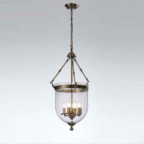 Diyas IL31077 Aubrey Pendant 4 Light Antique Brass Glass
