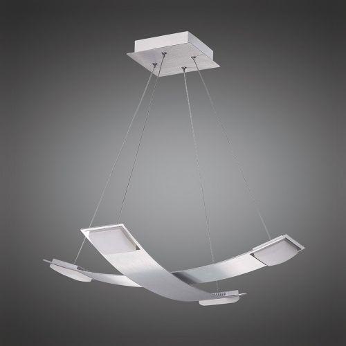 Mantra M8331 Thea Pendant 4 Light 28W LED 3000K 2520lm Satin Aluminium Frosted Acrylic