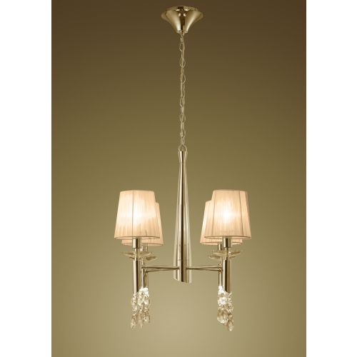 Mantra M3852FG Tiffany Pendant Fitting 8 Light French Gold Soft Bronze Shades Clear Crystal