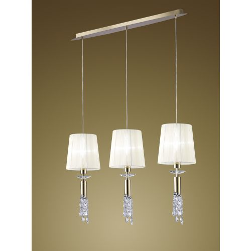 Mantra M3855FG Tiffany Bar Pendant Fitting 3 Light French Gold White Shades Clear Crystal