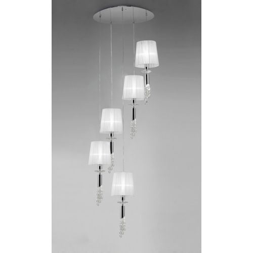 Mantra M3857 Tiffany Pendant Fitting 10 Light Spiral Polished Chrome White Shades Clear Crystal