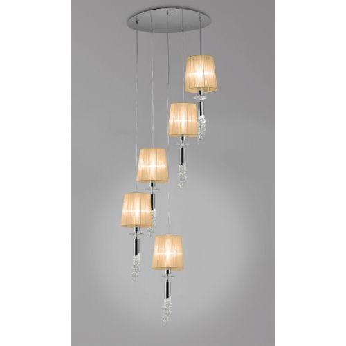 Mantra M3857 Tiffany Pendant Fitting 10 Light Spiral Polished Chrome Soft Bronze Shades Clear Crystal
