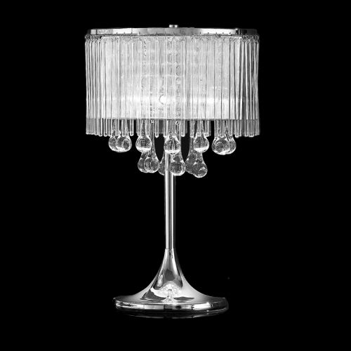 Franklite Spirit Polished Chrome Table Lamp With Crystal And Glass Drops TL853
