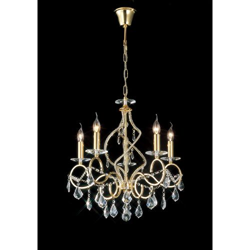 Diyas IL30325 Torino Pendant 5 Light French Gold Crystal