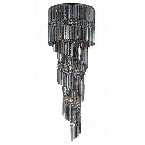 Impex CF112024/14/GM Totonto 14Lt Gun Metal Smoked Crystal Ceiling Pendant