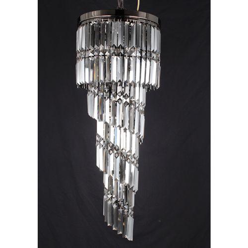 Impex CF112024/09/GM Toronto 9Lt Gun Metal Smoked Crystal Ceiling Long Pendant