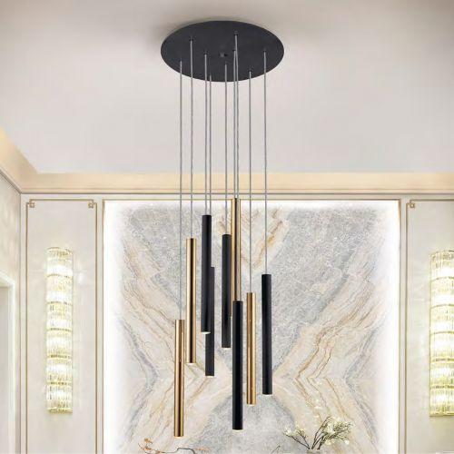 Schuller Varas 373272 LED 9 Light Round Black and Gold Pendant