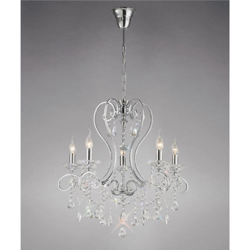Diyas IL31365 Vela Crystal 5 Light Pendant Polished Chrome Frame