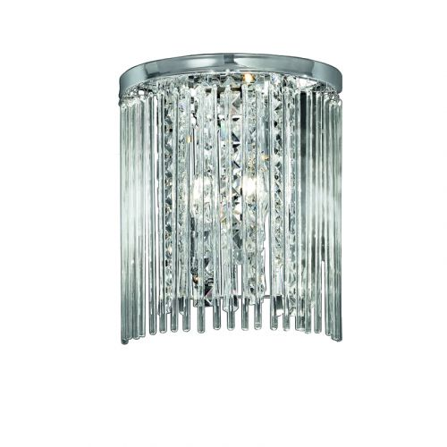 Franklite WB048 Decorative Bathroom Wall Light, Glass Rods and Drops Polished Chrome