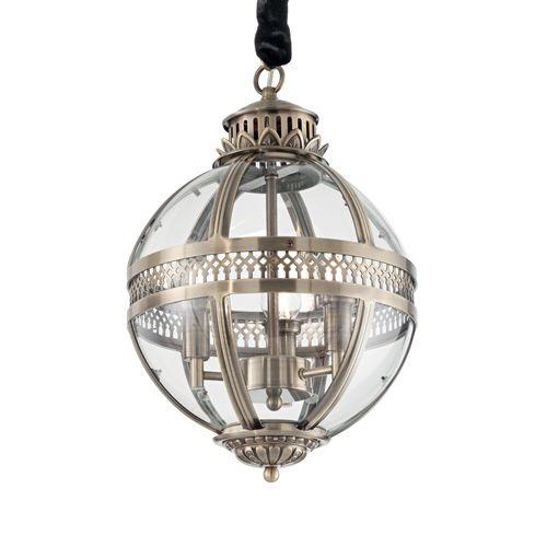 Ideal Lux 156316 World 3Lt Antique Brass Ceiling Globe Pendant
