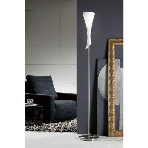 Mantra Zack Single Light Opal Glass And Matt Nickel Floor Lamp M0775
