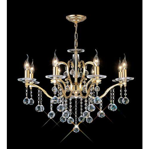 Diyas IL30228 Zinta Crystal 8 Light Chandelier French Gold Frame
