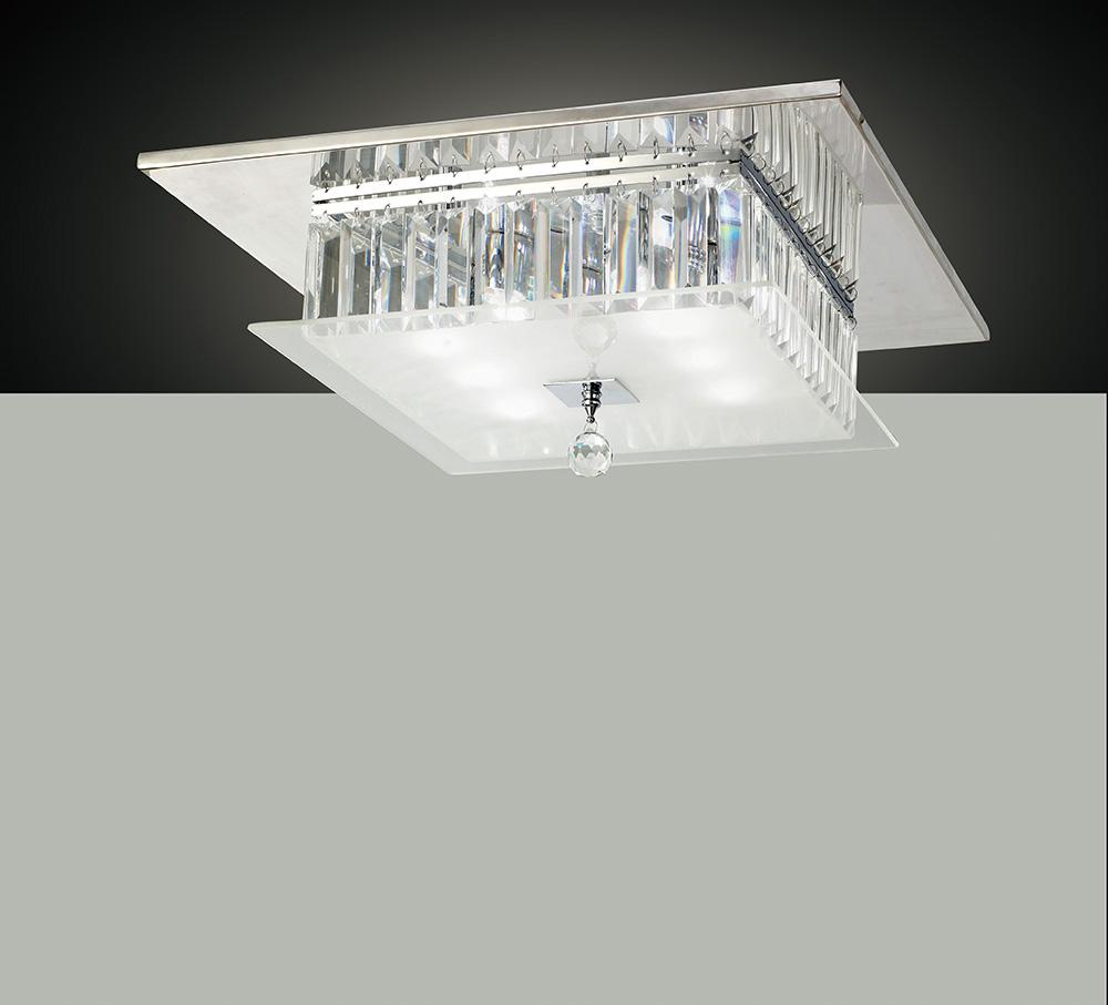 Diyas il30246 tosca flush ceiling fitting square 6 light polished chrome glass crystal